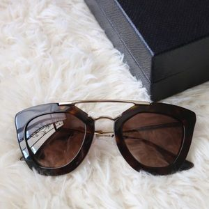 New Prada SPR 09Q Havana Brow Bar Sunglasses